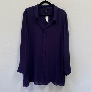 Lane Bryant Plum Purple Portofino button shirt